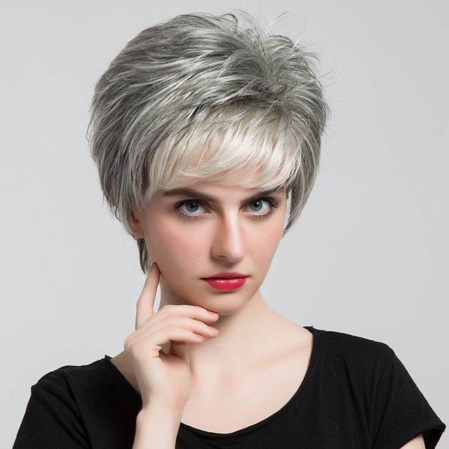 Blonde Unicorn 6 Short Synthetic Grey Hair Fake Wig With Side Bangs Dark Root Ombre
