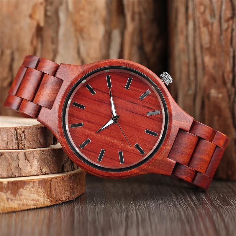 YISUYA Moda Qırmızı Səndəl Ağacı Saatlar Analog Kvars İdman - Kişi saatları - Fotoqrafiya 2