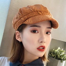 Cute Knitted Winter Beret Hats For Women Warm Cap Solid Khaki Beanie Girl Female Octagonal for Grls