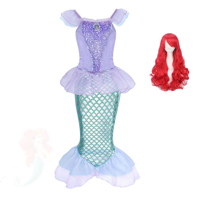 Baby Girls The Little Ariel Princess fancy Dress Child Cosplay Costume Fantasia Mermaid Tail Kids wig Party halloween Christmas