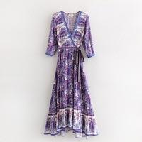 Ethnic Tribe Long Dress Robe Floral Kimono Dress V Neck Bohemian Boho Chic Mujer Sashes Long Maxi Hippie Vestidos Beach Dress