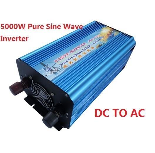 цена на 5000W 5KW Off Grid dual digital display DC12V/24V to AC110V/220V Pure Sine Wave Power Inverter Peak power 10KW 10000W inverter