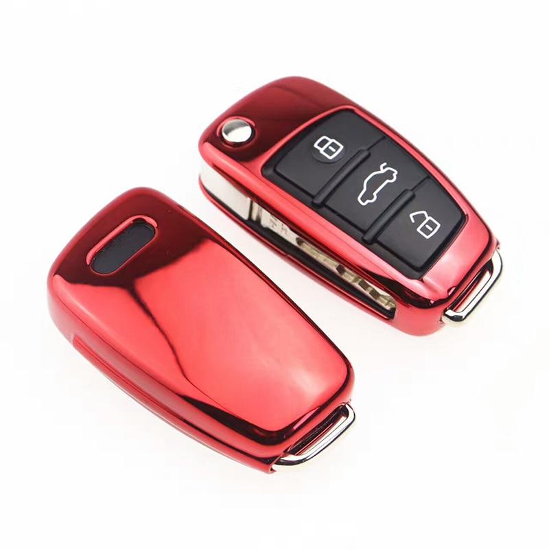Silver Smart TPU Key Cover Fob Case for AUDI A5 A7 S6 Q5 A4L A6L A8L