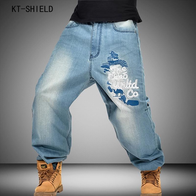 Hip Hop Skateboard Casual Jeans Men Fashion Denim Pants Loose Long Trousers street tide upscale embroidery