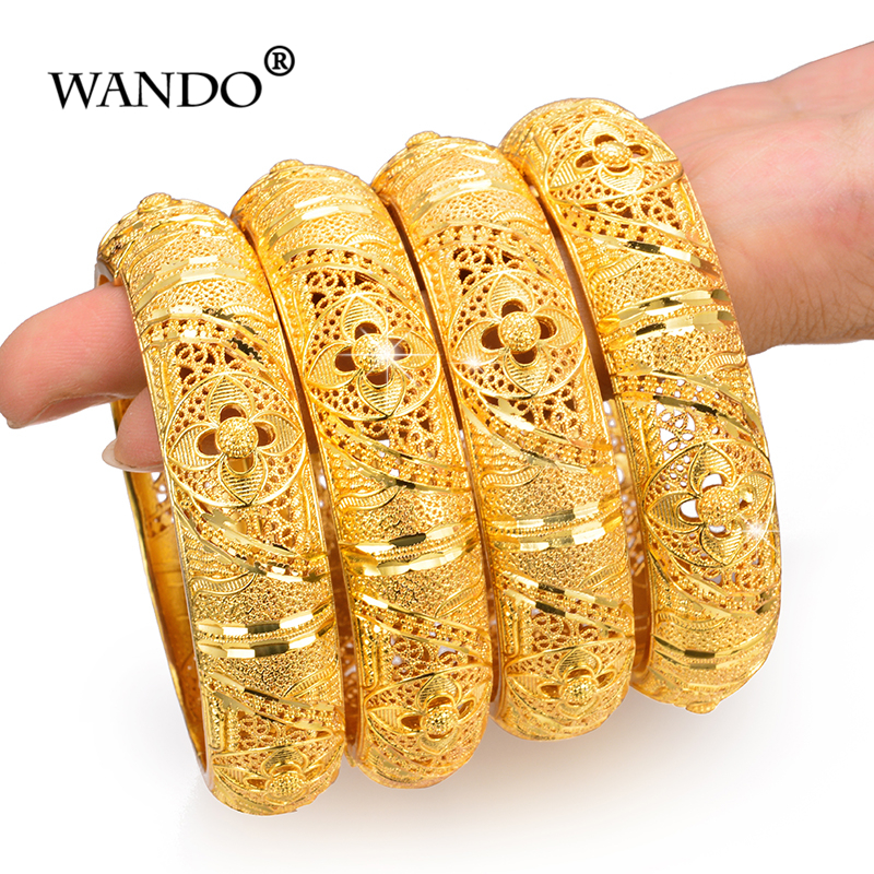 WANDO 4pcs/lot Wedding Jewelry For Women Girls Bracelets Gold Color Elegant Arab/Ethiopian India Bridal Bangles Party Gifts b152