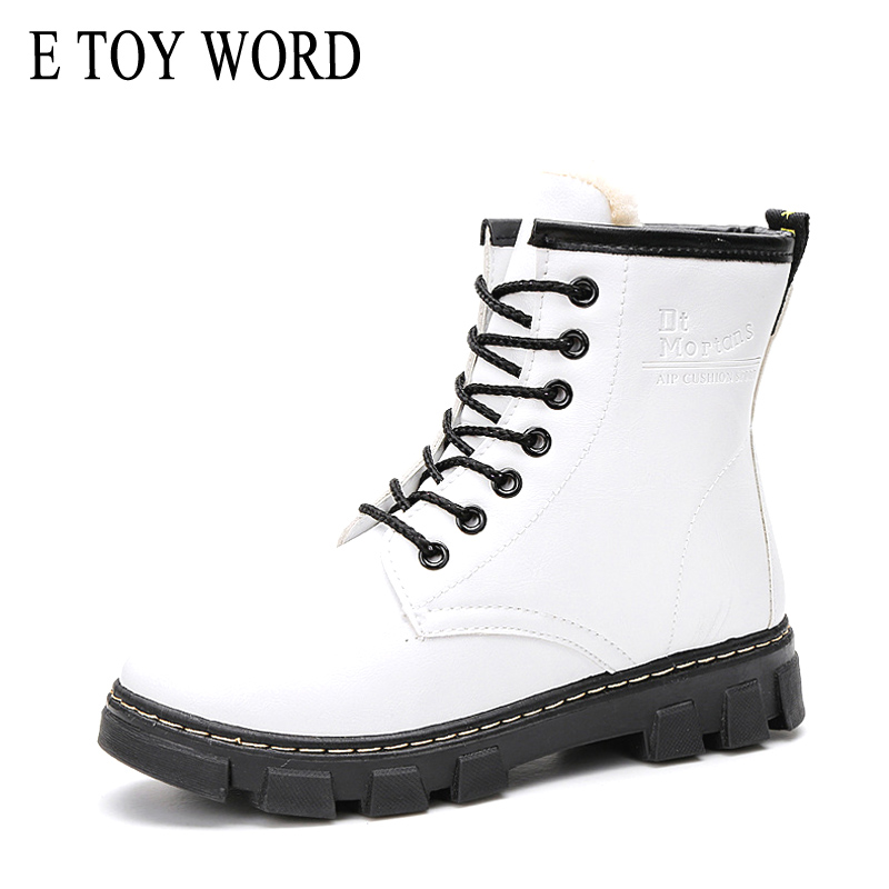 E TOY WORD Women's White Boots Winter PU flat heel boots waterproof lace-up women's boots keep warm thick fur martin boots word up