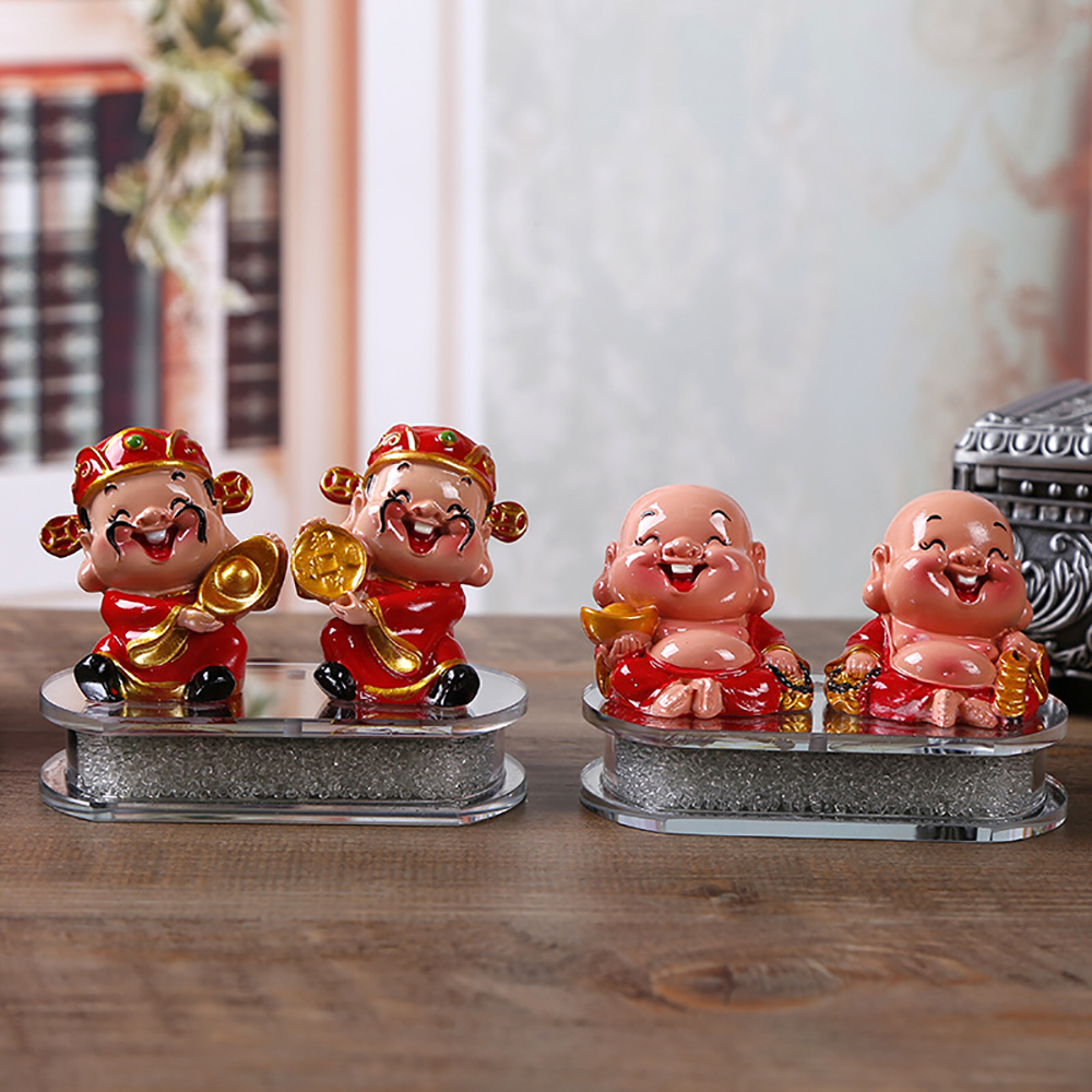 Shock-Resistant And Antimagnetic Genteel Car Ornament Abs Smile Maitreya Buddha God Of Wealth Doll Dashboard Crafts Cute God Of Prosperity Home Decoration Furniture Waterproof Interior Accessories Ornaments