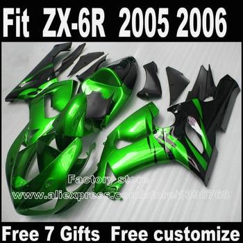 Plastic fairing kits for Kawasaki ZX6R 2005 2006 Parts 05 06 Ninja 636 green black fairings bodywork set S268