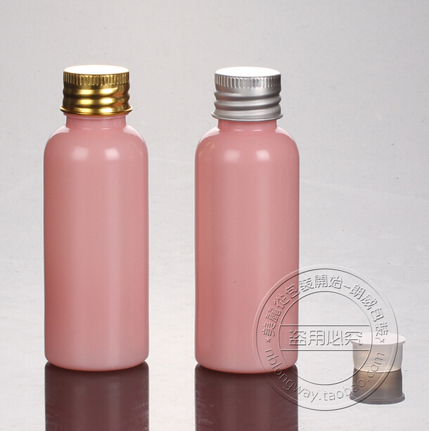 Skin Care Tools Refillable Bottles 40pcs/lot 50ml Bottle With Rounded Shoulders Pink Aluminum Bottle Cap Easy To Lubricate