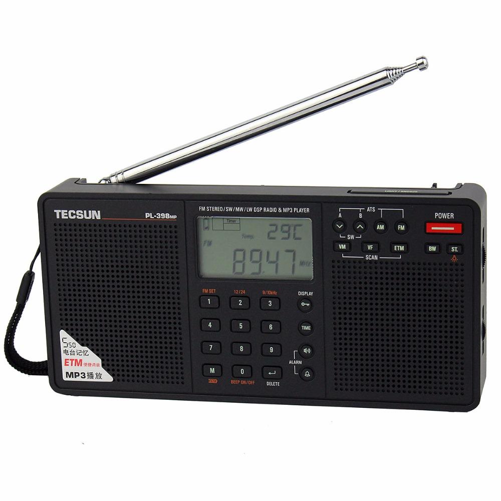 Prix pour Tecsun pl-398mp radio dsp fm et mp3 lecteur fm stéréo/mw/sw/lw récepteur sd carte double haut-parleur portable radio enregistreur y4132a
