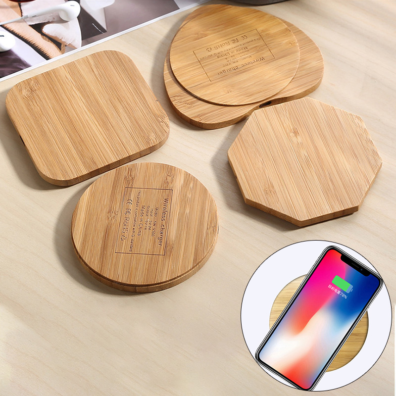 Wood Bamboo Qi Wireless Charger Charging Pad Mat For