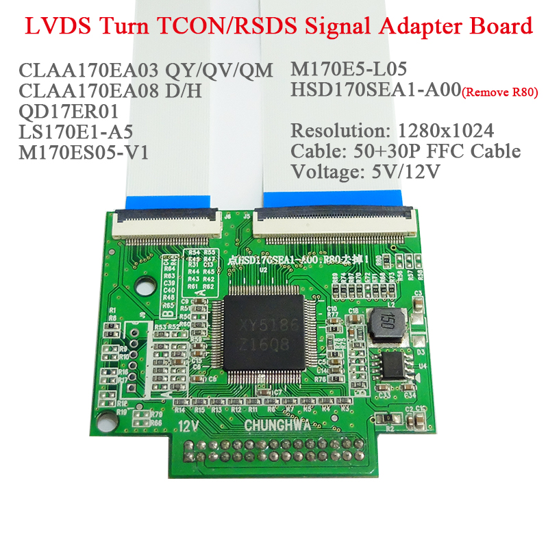 30 50P FFC LVDS Turn TCON RSDS Signal Transform Adapter Adapter Board for CLAA170EA03 QY QV