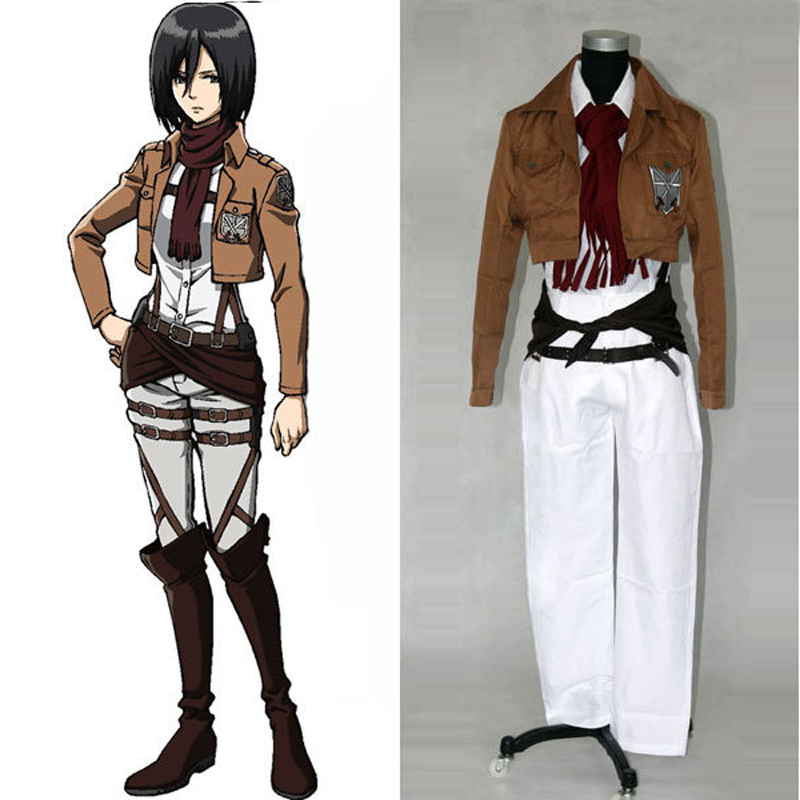 Anime Attack on Titan Shingeki no Kyojin Mikasa Ackerman Training Corps Cosplay Costume Full Set Uniform Suit Custom-made
