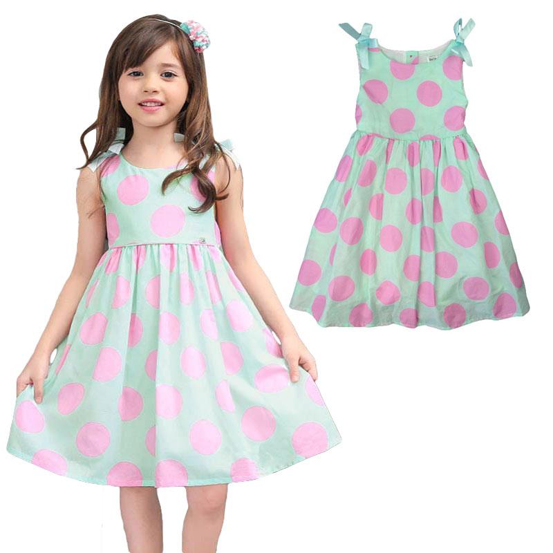 Summer sweet children cloth girls dress kids clothes dress sleeveless a-line bow dress european sweet princess dot print dresses