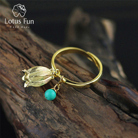 Lotus Fun Real 925 Sterling Silver Natural Turquoise Handmade Designer Fine Jewelry Redbud Flower Rings For