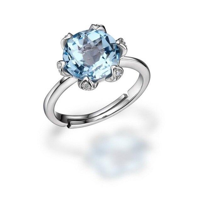 Лучшие Качества Природный Голубой Топаз Кольцо Стерлингового Серебра 925 Для Женщин Регулируемый Размер
