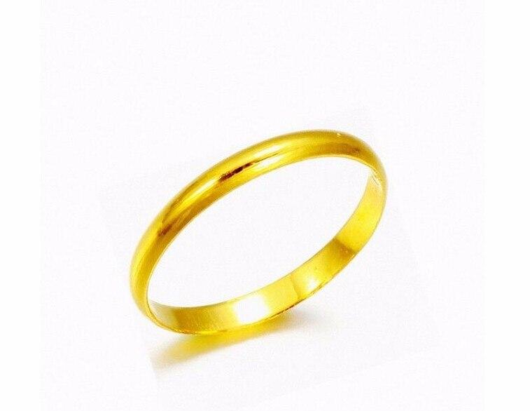 Véritable solide 999 24 K or jaune/conception lisse parfaite bague taille 4-8