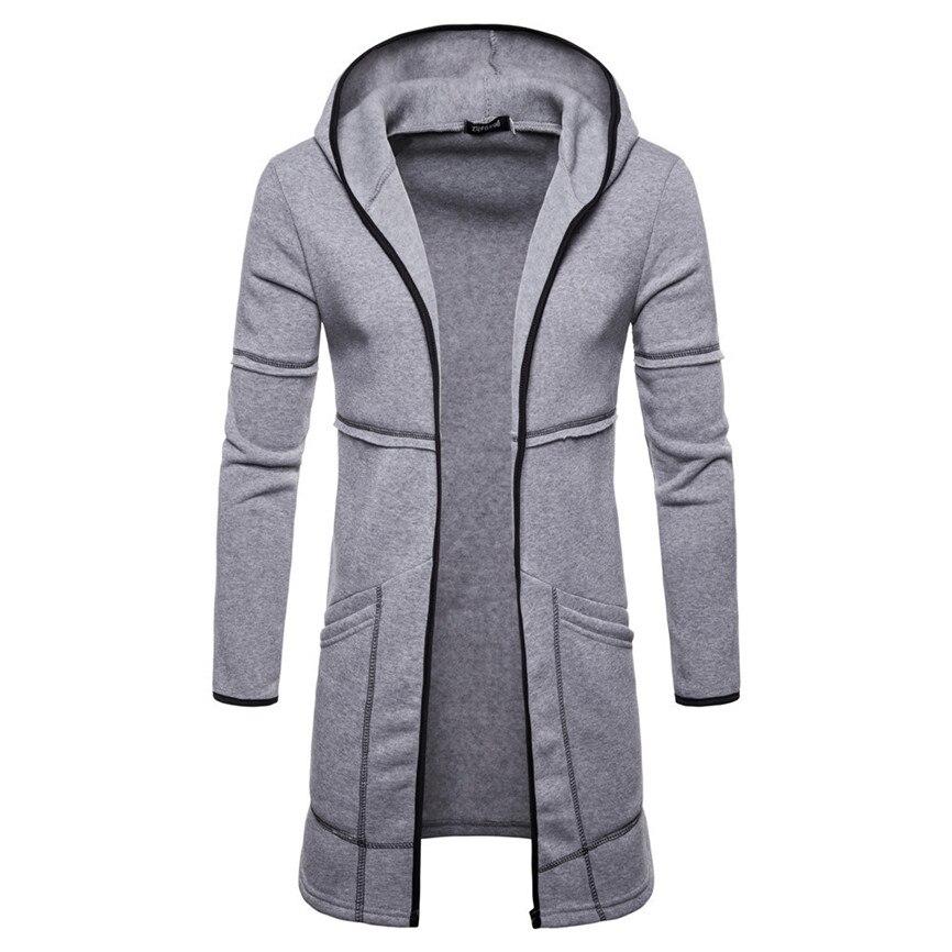 Men's Jacket Hooded Sportswear Fashion Mens Hooded Solid Trench Coat Jacket Cardigan Long Sleeve Outwear Blouse Jacket Manteau
