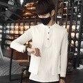 2017 Fake 2 unids Irregular Blanco Vestido Occidental Mens Camisas De Lino hombres Ocasionales de Lujo de Corea Diseñador Slim Fit Hombres Camiseta de Manga Larga