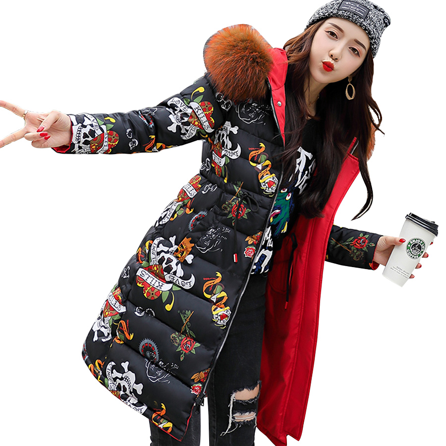 New 2018 Parka Thicken Warm Winter Coat Women Cotton Down Fur Collar With A Hood Long Jacket Casual Print Outwear Female