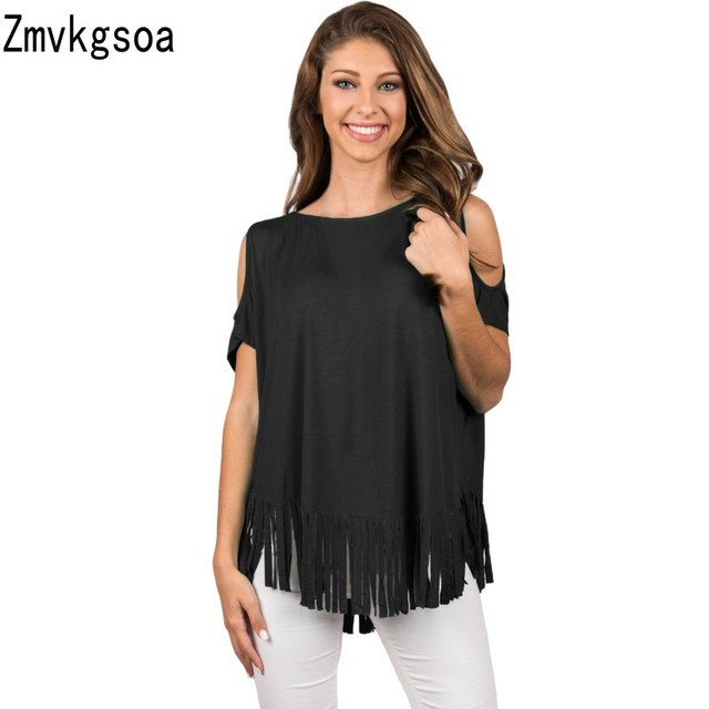 321bbda33db4b Zmvkgsoa 2018 Womens Tops and Blouses Black Fringe Hemline Cold Shoulder  Top Blouse Femme Tops For Women V2509630