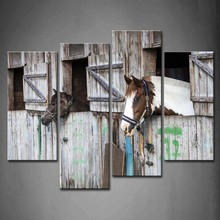 4 Panels Unframed Wall Art Pictures Horses Stable Canvas Print Artwork Modern Animal Posters For Living Room Decor