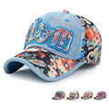 Korean Fashion Summer Boys Girls Sun Hat Floral Stitching Letters Denim Baseball Cap AM17228MZ1