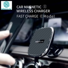 Newest Nillkin 10W Qi Fast Wireless Charger For iPhone X/8/8 Plus Magnetic Vehicle Mount Phone Holder Pad for Samsung S9/ Note 8