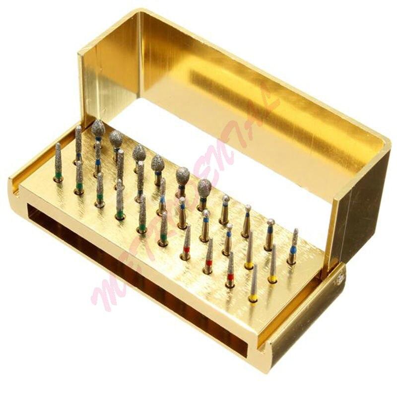 30 pièces Diameter1.6mm Fraises Dentaires À Grande Vitesse et 1 pièces 30 trous autoclavable FG Fraises dentaires kit de Blocs pour usage dentaire outil