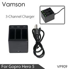 Vamson สามพอร์ตแบตเตอรี่ Charger แบตเตอรี่แท่นชาร์จสำหรับ GoPro 8 7 5 6 สำหรับ Go Pro HERO 8 7 6 5 สีดำ
