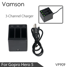 Vamson Three Ports Battery Charger Battery Charging Dock For GoPro 8 7 5 6 for Go Pro Hero 8 7 6 5 Black