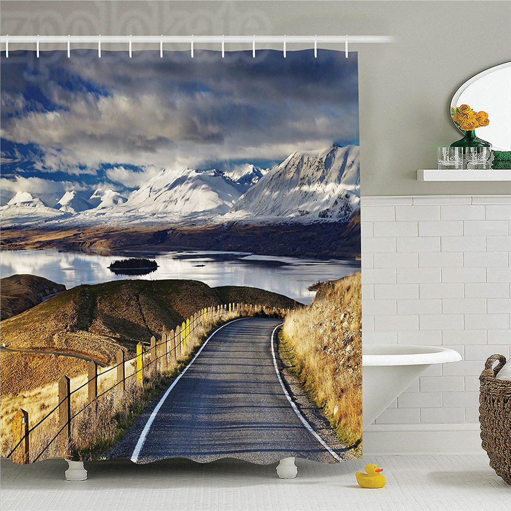 Lake House Decor Shower Curtain Set Pike Road That Goes To The River And Snowy Mountain Gradient Color Sky Scenery Bathroom