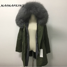 MAOMAOKONG women army green Large color raccoon fur hooded coat parkas outwear long detachable lining winter jacket brand style