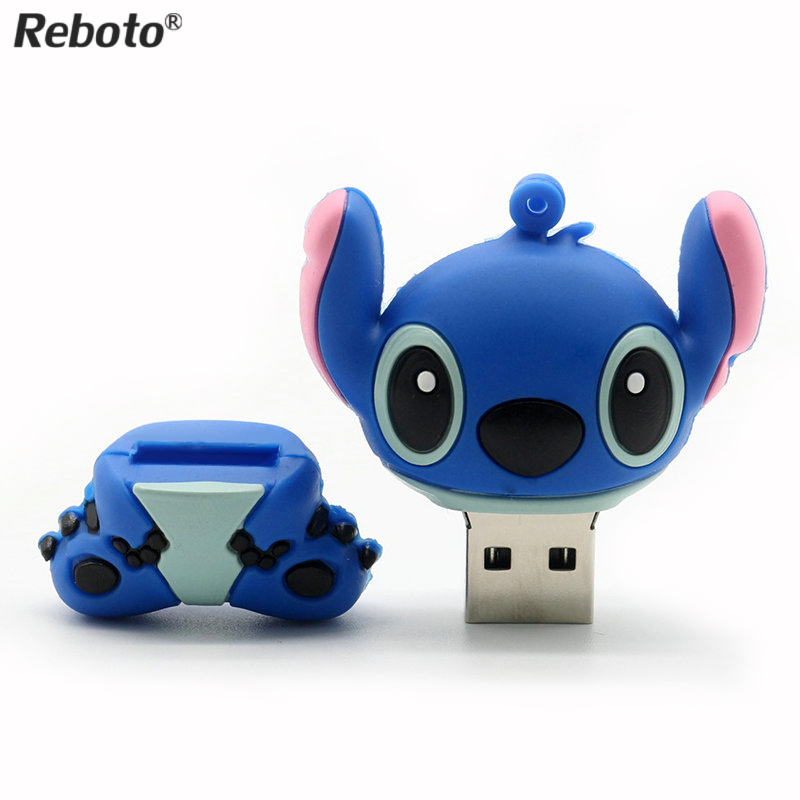 Genuine cartoon Lilo&Stitch USB flash drive 4GB 8GB 16GB 32GB  U disk Cute thumb memory stick 64GB pen drive usb flash(China)