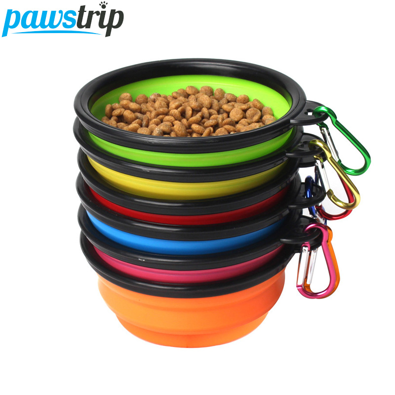 Pawstrip 1pc Collapsible Silicone Dog Bowl Outdoor Hiking Travel Dog Water Food Bowl 6 Colors
