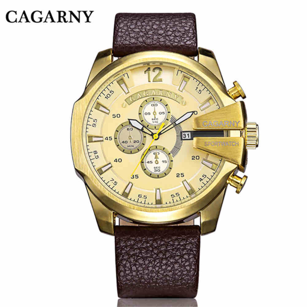 CAGARNY Watches Men Luxury Brand Large Dial Sport Watch With Calendar Golden Case Stainless Steel Leather Wristwatch PENGNATATE