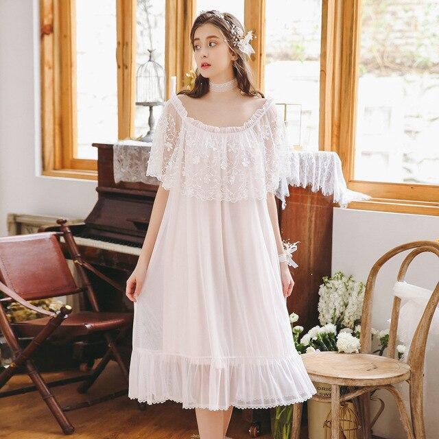 1faf340421e 2019 New Sleepwear Bow Ruffle Lace Home Dress Casual Long Negligee  Nightdress Women Loose Pregnant Maternity Nightgown CA772