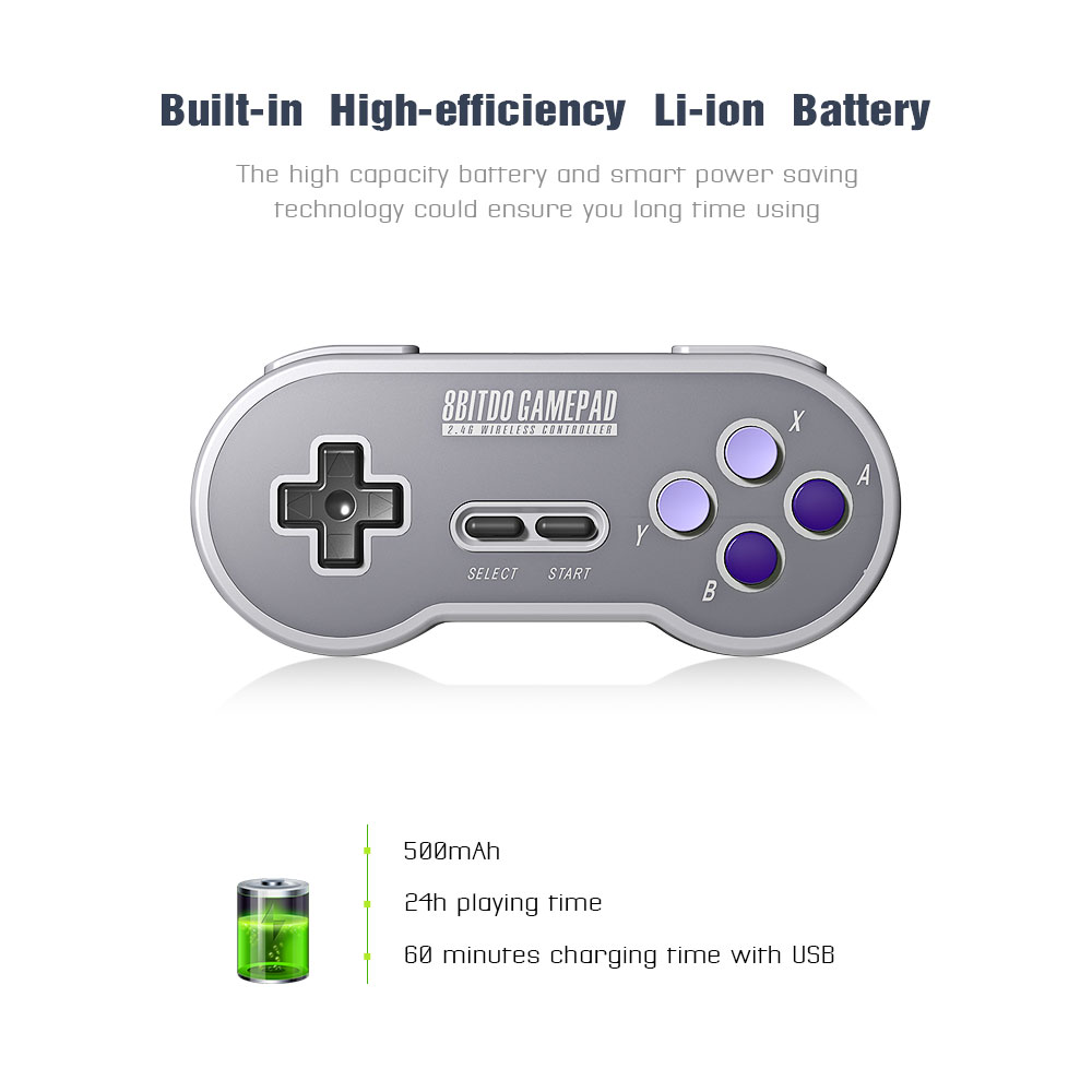 8BitDo SN30 Controller Wireless Gamepad with 2.4G NES Receiver for Windows Android PC Mac 9