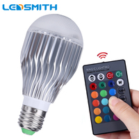10W E27 RGB LED Bulb Dimmable With 24key Remote Controller 85 265V 110V 220V Aluminum Radiating