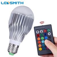 10W E27 RGB LED Bulb Dimmable With 24key Remote Controller 85 265V 110V 220V Aluminum Radiating