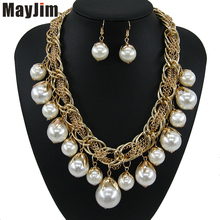 hot deal buy statement necklace 2018 fashion pearl jewelry sets chain crystal dubai bridal jewelry sets vintage beads bijoux accessories