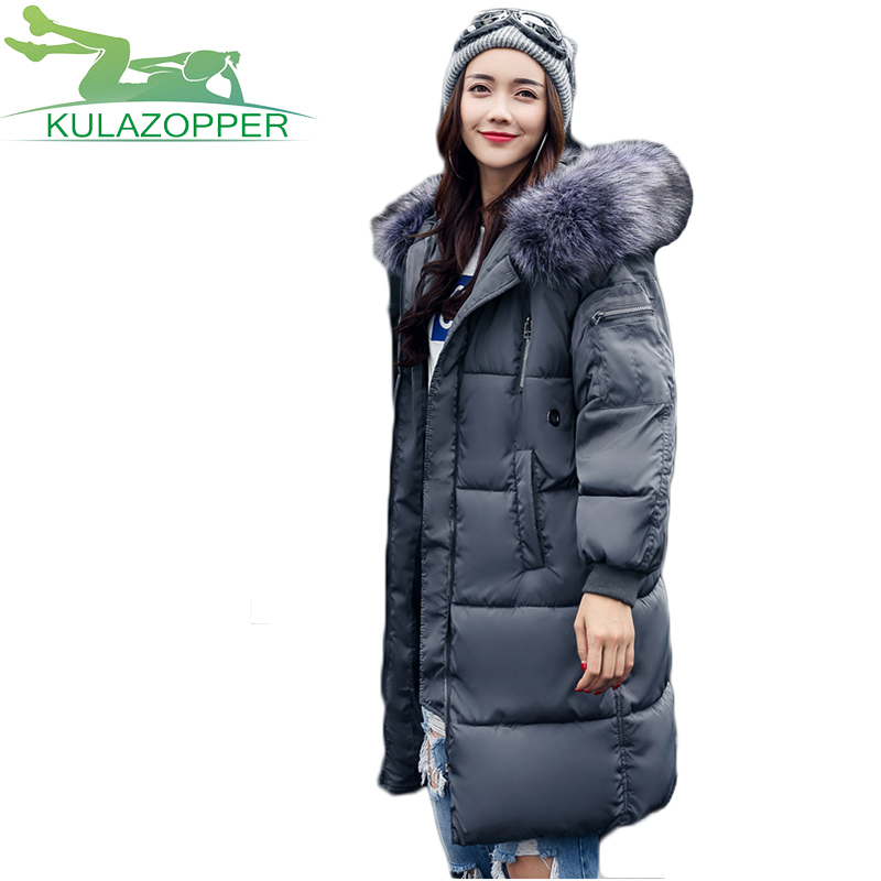 2017 Winter New large fur collar cotton Coat Women Hooded long section Korean version tide Slim plus thick Down jacket xh140 2015 new style korean version fur hood collar down jacket women winter long coak a word big yards thick slim coat pj013