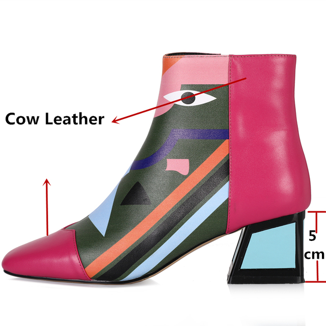 COVIBESCO Fashion Brand Women Genuine Leather Ankle Boots High Heels Zipper Autumn Winter Motorcycle Boots Short Shoes Woman 2