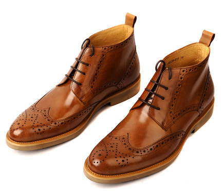 Fashion men high fashion leather , brockden carved cowhide genuine leather pointed toe shoes lacing
