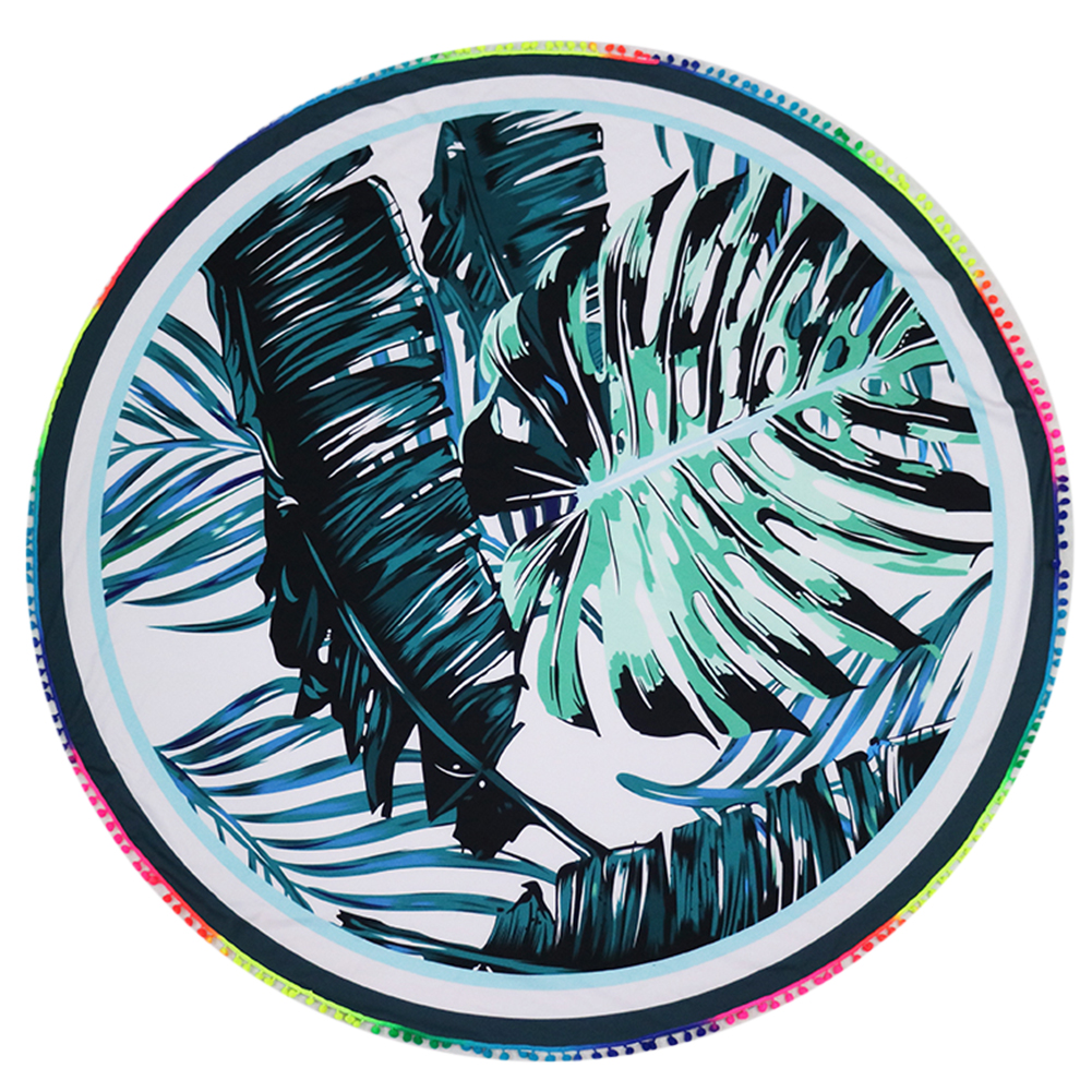 Bola colorida tassel beach towel hojas imprimir yoga mat blacket tippet textiles