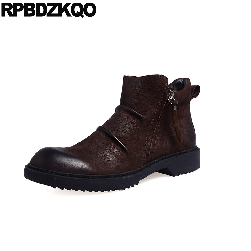 booties real leather fall faux fur genuine short brown designer suede zipper winter men boots with autumn shoes high quality top women short wallet faux suede leather zipper