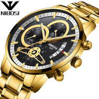 NIBOSI Relogio Masculino Golden Luxury Brand Men's Watches Stainless Steel Chronograph Male Quartz Watch Dropshipping