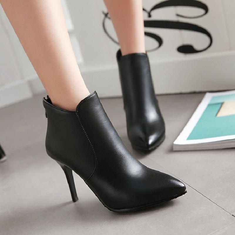 GOXPACER 2018 Autumn Winter Boots Women Shoes Thin Heels Motorcycle Boots Shoes Pointed Toe Plus Size Work Zip High 35-43 New 1