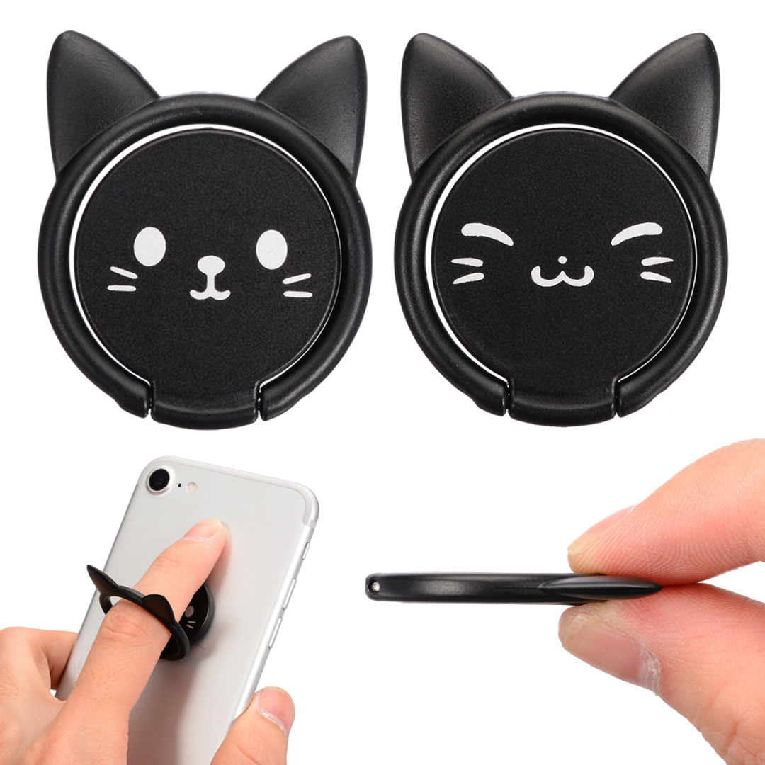 New Cartoon Cat Animals Shaped Finger Ring Phone Holder 360 Degree Rotating Stand For Mobile Cell Phone Tablet Black/Pink/Red