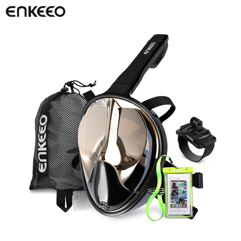 Enkeeo Full Face Snorkel Mask with 180 Panoramic View Watertight and Anti-Fog (Including Waterproof Phone Case) cressi marea and gamma snorkel combo